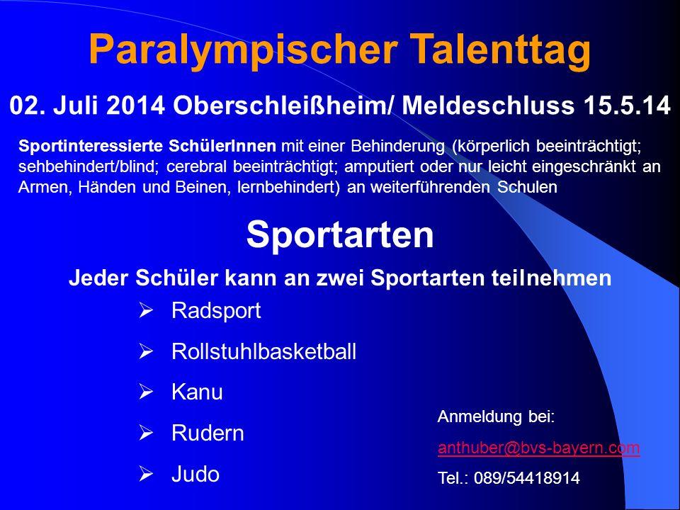 Paralympischer Talenttag 02. Juli 2014 Oberschleißheim/ Meldeschluss 15.5.14 Sportinteressierte SchülerInnen mit einer Behinderung (körperlich beeintr