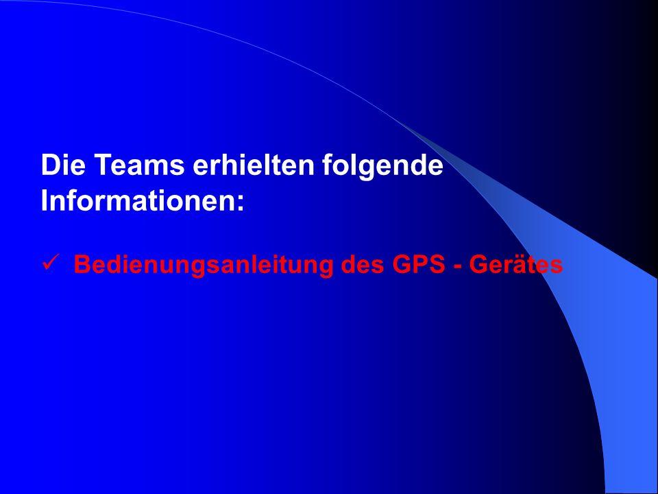 Die Teams erhielten folgende Informationen: Bedienungsanleitung des GPS - Gerätes