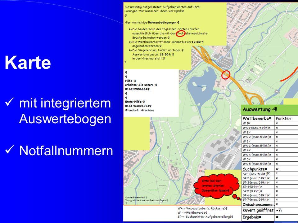 Die Teams erhielten folgende Informationen: Bedienungsanleitung des GPS – Gerätes Kartenausschnitt des Englischen Gartens Geschlossenes Kuvert mit einer Notfallkarte