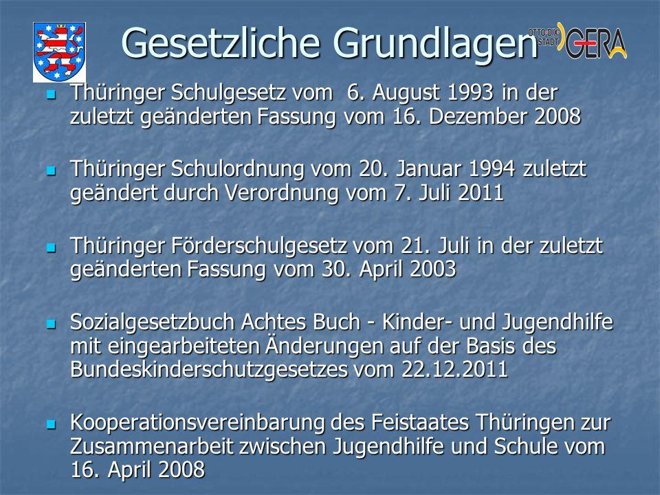 Gesetzliche Grundlagen Thüringer Schulgesetz vom 6. August 1993 in der zuletzt geänderten Fassung vom 16. Dezember 2008 Thüringer Schulgesetz vom 6. A
