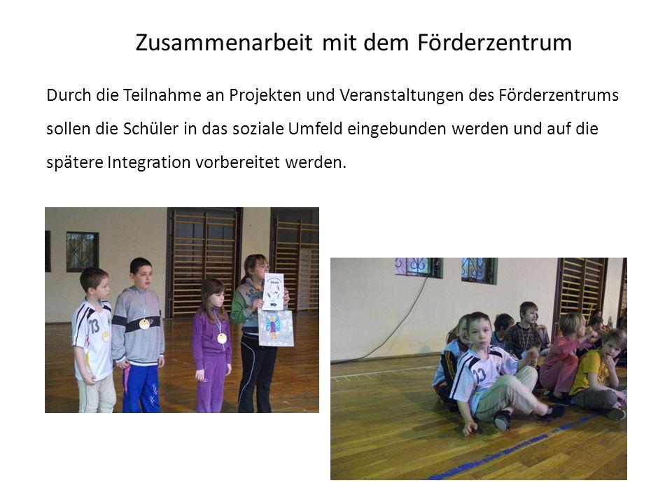 Zusammenarbeit mit dem Förderzentrum Durch die Teilnahme an Projekten und Veranstaltungen des Förderzentrums sollen die Schüler in das soziale Umfeld