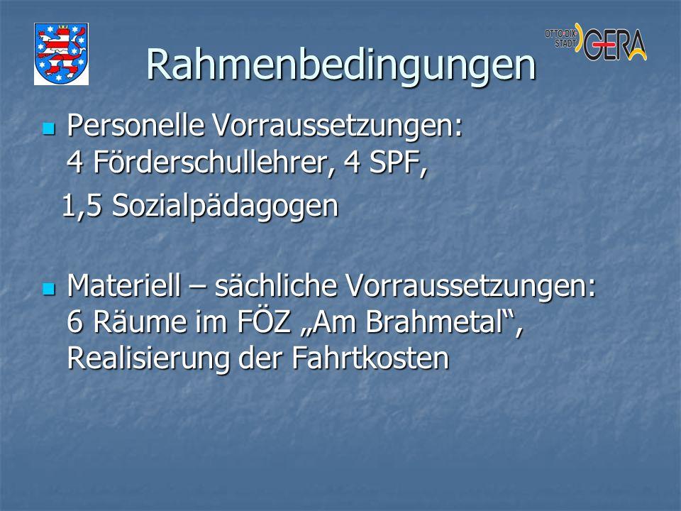 Rahmenbedingungen Personelle Vorraussetzungen: 4 Förderschullehrer, 4 SPF, Personelle Vorraussetzungen: 4 Förderschullehrer, 4 SPF, 1,5 Sozialpädagoge