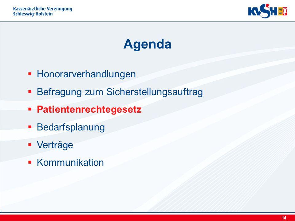 14 Honorarverhandlungen Befragung zum Sicherstellungsauftrag Patientenrechtegesetz Bedarfsplanung Verträge Kommunikation Agenda