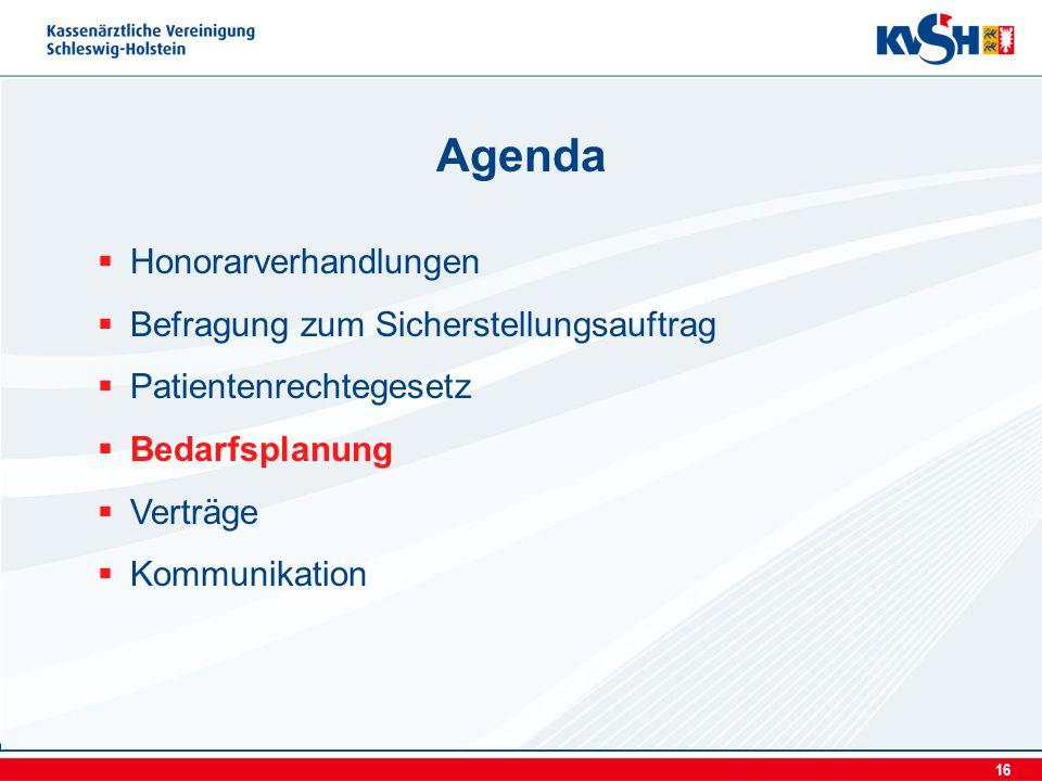 16 Honorarverhandlungen Befragung zum Sicherstellungsauftrag Patientenrechtegesetz Bedarfsplanung Verträge Kommunikation Agenda