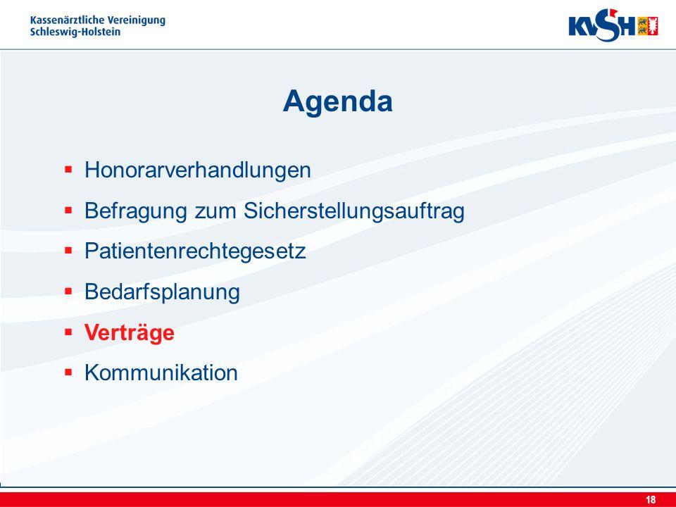 18 Honorarverhandlungen Befragung zum Sicherstellungsauftrag Patientenrechtegesetz Bedarfsplanung Verträge Kommunikation Agenda