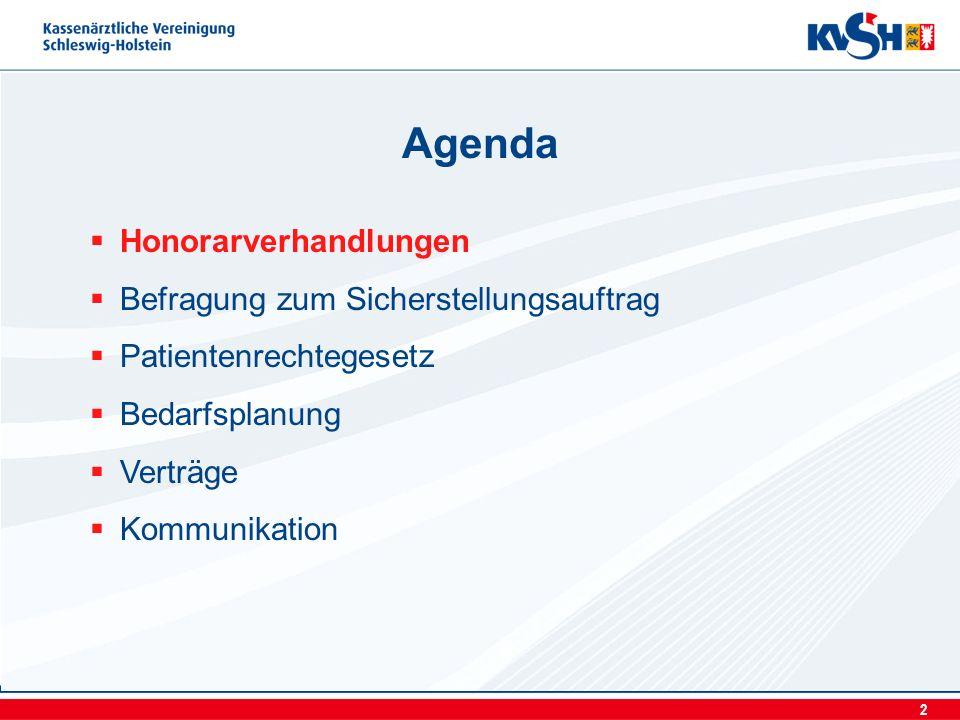 2 Honorarverhandlungen Befragung zum Sicherstellungsauftrag Patientenrechtegesetz Bedarfsplanung Verträge Kommunikation Agenda