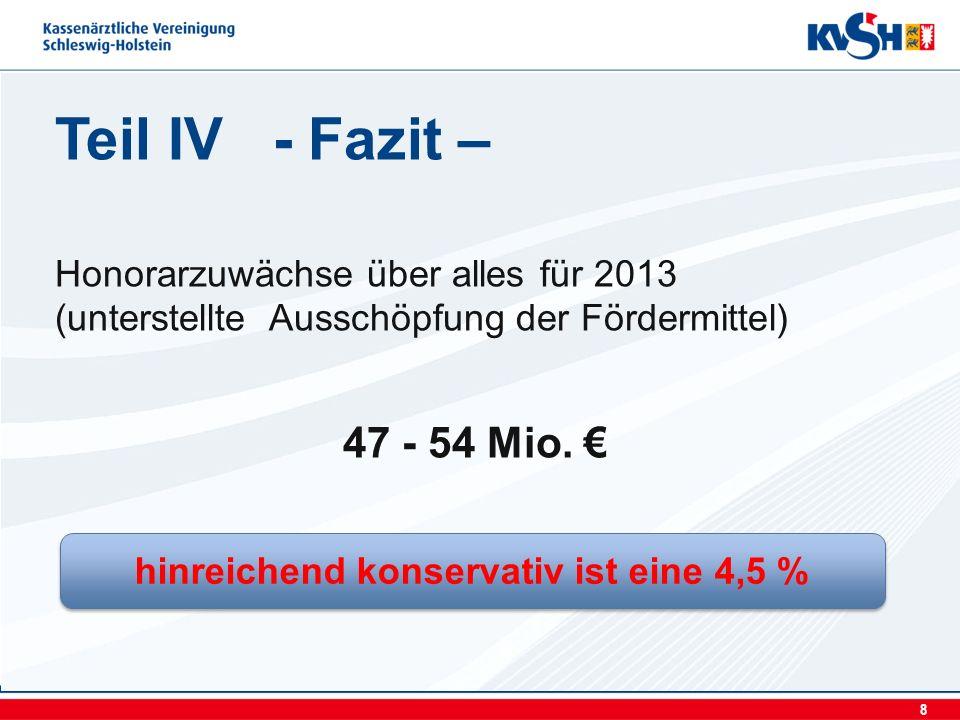 8 Teil IV - Fazit – Honorarzuwächse über alles für 2013 (unterstellte Ausschöpfung der Fördermittel) 47 - 54 Mio.