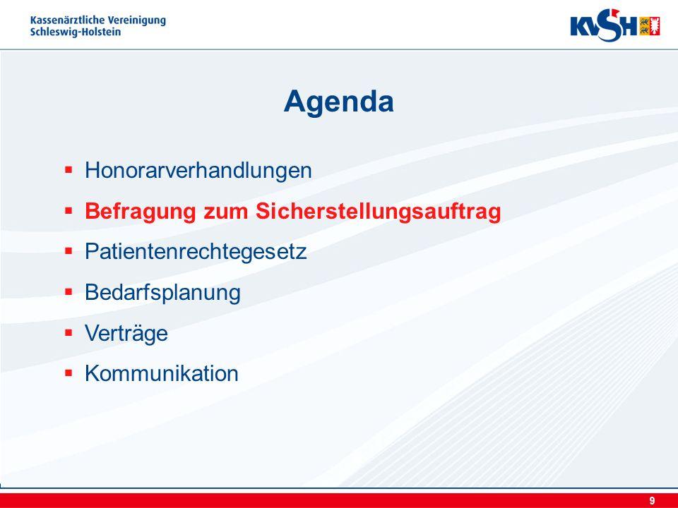 9 Honorarverhandlungen Befragung zum Sicherstellungsauftrag Patientenrechtegesetz Bedarfsplanung Verträge Kommunikation Agenda