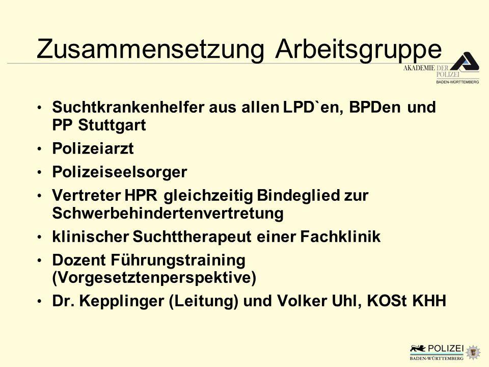Zusammensetzung Arbeitsgruppe Suchtkrankenhelfer aus allen LPD`en, BPDen und PP Stuttgart Polizeiarzt Polizeiseelsorger Vertreter HPR gleichzeitig Bin