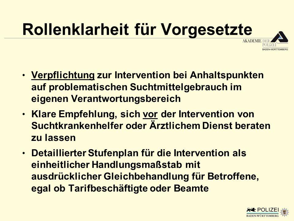 Rollenklarheit für Vorgesetzte Verpflichtung zur Intervention bei Anhaltspunkten auf problematischen Suchtmittelgebrauch im eigenen Verantwortungsbere