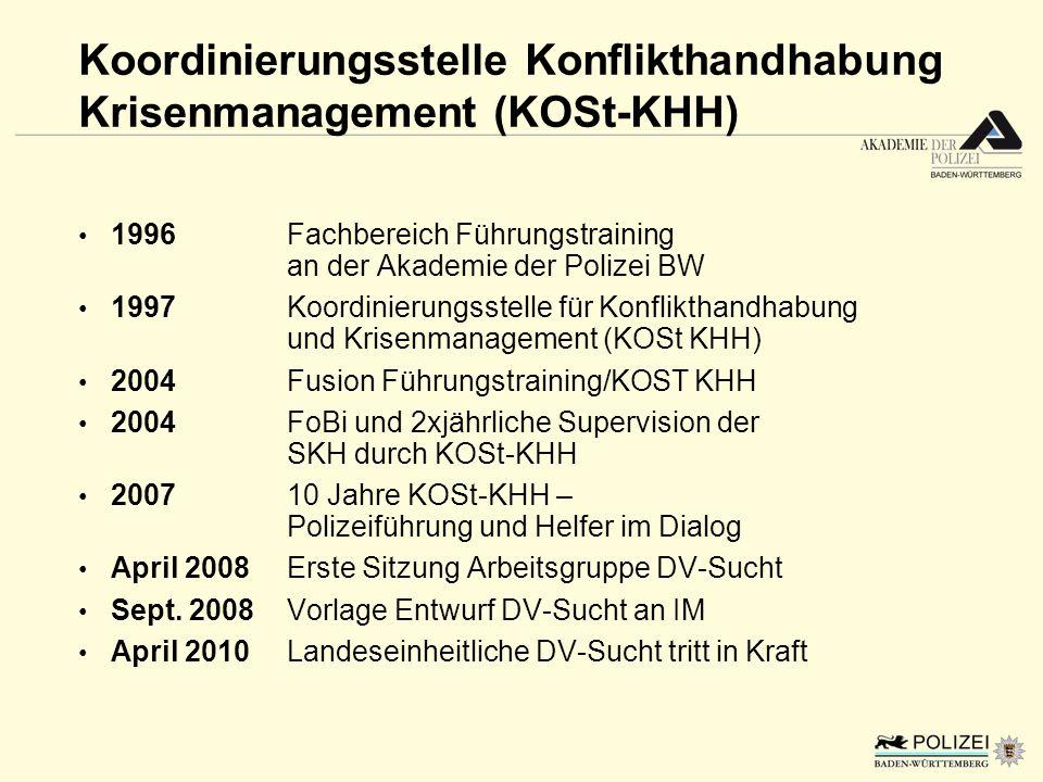 Koordinierungsstelle Konflikthandhabung Krisenmanagement (KOSt-KHH) 1996Fachbereich Führungstraining an der Akademie der Polizei BW 1997Koordinierungs