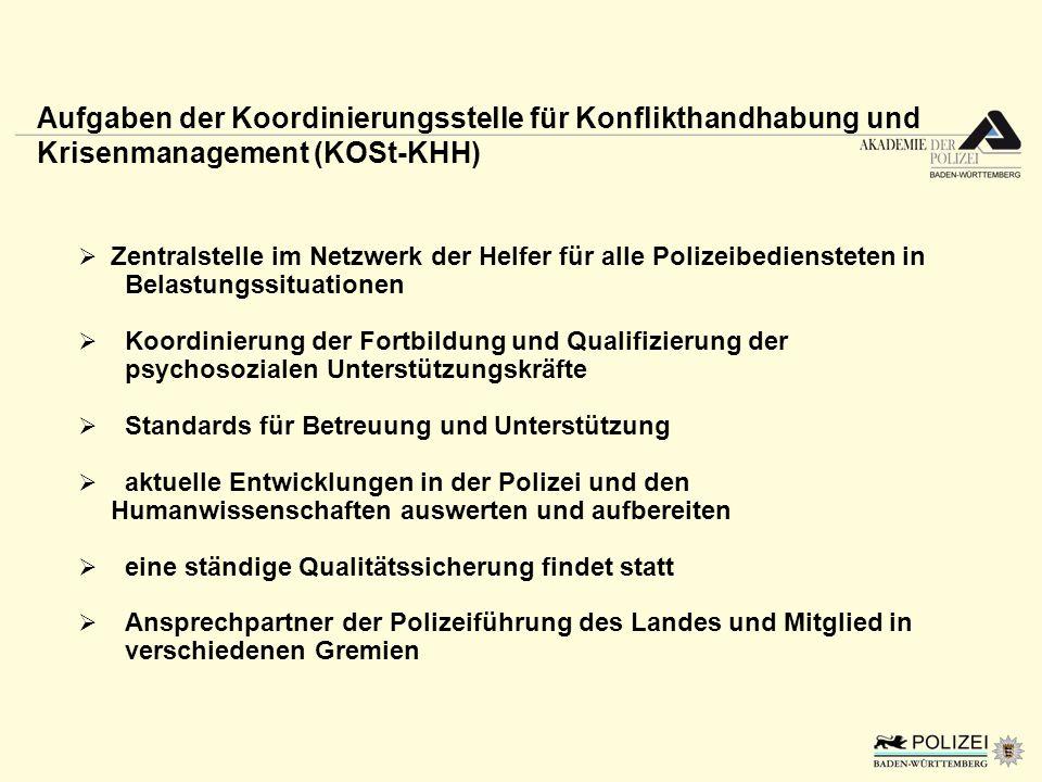 Zentralstelle im Netzwerk der Helfer für alle Polizeibediensteten in Belastungssituationen Koordinierung der Fortbildung und Qualifizierung der psycho