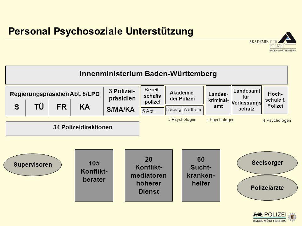 Personal Psychosoziale Unterstützung Innenministerium Baden-Württemberg Akademie der Polizei Freiburg Wertheim 5 Psychologen Landes- kriminal- amt 34