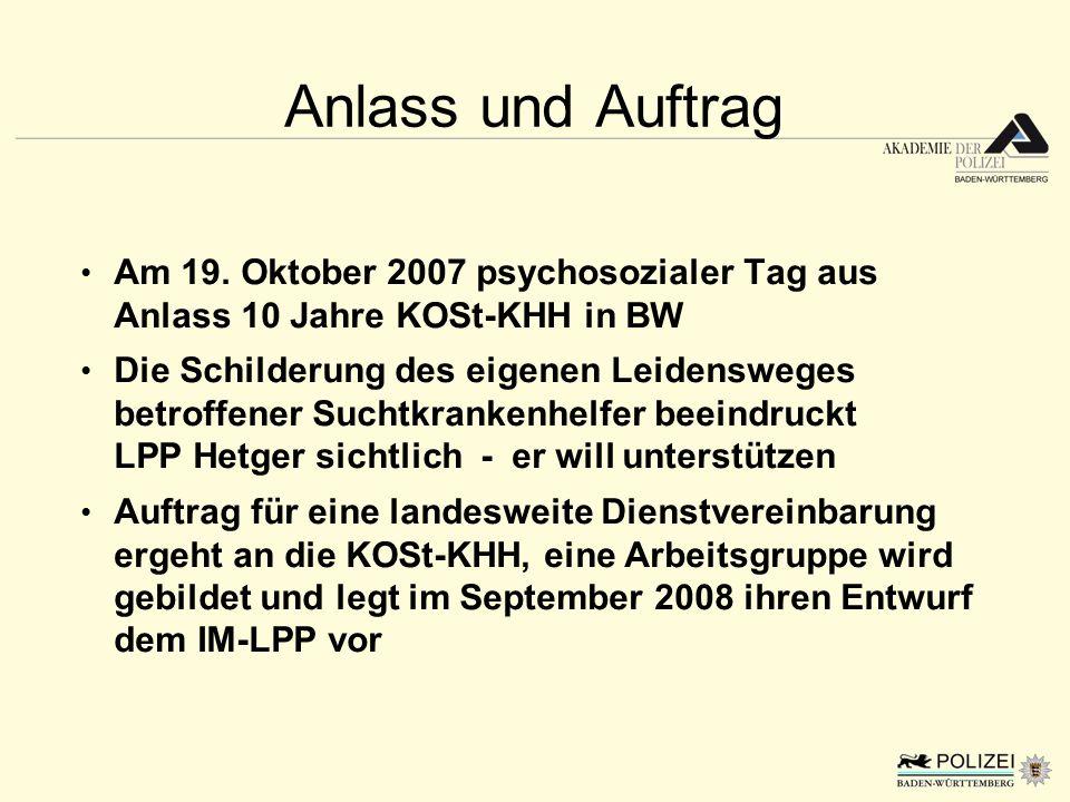 Anlass und Auftrag Am 19. Oktober 2007 psychosozialer Tag aus Anlass 10 Jahre KOSt-KHH in BW Die Schilderung des eigenen Leidensweges betroffener Such