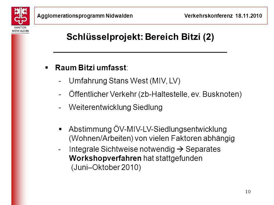 Agglomerationsprogramm Nidwalden Verkehrskonferenz 18.11.2010 10 Schlüsselprojekt: Bereich Bitzi (2) __________________________________ Raum Bitzi umf