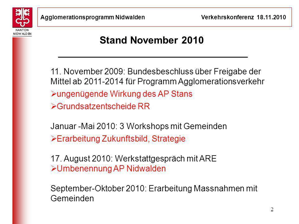 Agglomerationsprogramm Nidwalden Verkehrskonferenz 18.11.2010 2 Stand November 2010 __________________________________ 11. November 2009: Bundesbeschl