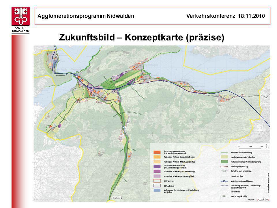 Agglomerationsprogramm Nidwalden Verkehrskonferenz 18.11.2010 9 Schlüsselprojekt: Bereich Bitzi (1) __________________________________ Einmalige Gelegenheit Auf grüner Wiese und doch zentral gelegen Optimale Abstimmung von Siedlung und Verkehr Qualitativ hochstehende Entwicklung möglich