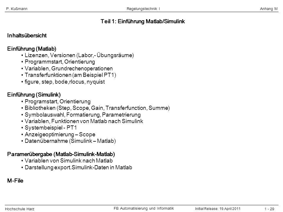 Hochschule Harz FB Automatisierung und Informatik 1 - 29 Regelungstechnik IAnhang MP. Kußmann Teil 1: Einführung Matlab/Simulink Inhaltsübersicht Einf