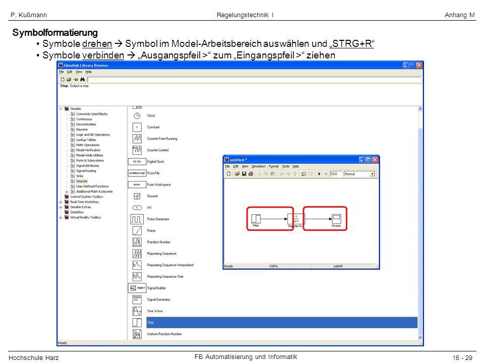 Hochschule Harz FB Automatisierung und Informatik 16 - 29 Regelungstechnik IAnhang MP. Kußmann Symbolformatierung Symbole drehen Symbol im Model-Arbei