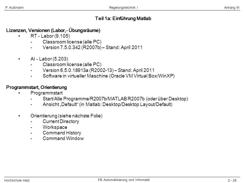 Hochschule Harz FB Automatisierung und Informatik 2 - 29 Regelungstechnik IAnhang MP. Kußmann Lizenzen, Versionen (Labor,- Übungsräume) RT - Labor (9.