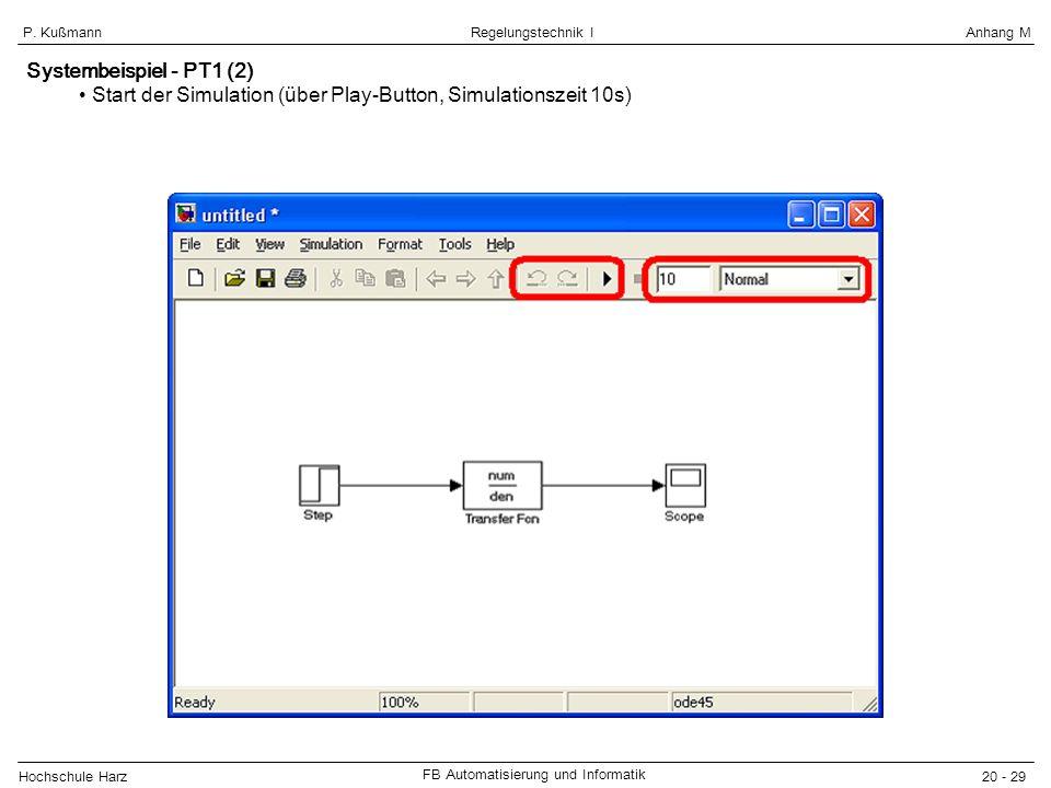 Hochschule Harz FB Automatisierung und Informatik 20 - 29 Regelungstechnik IAnhang MP. Kußmann Systembeispiel - PT1 (2) Start der Simulation (über Pla