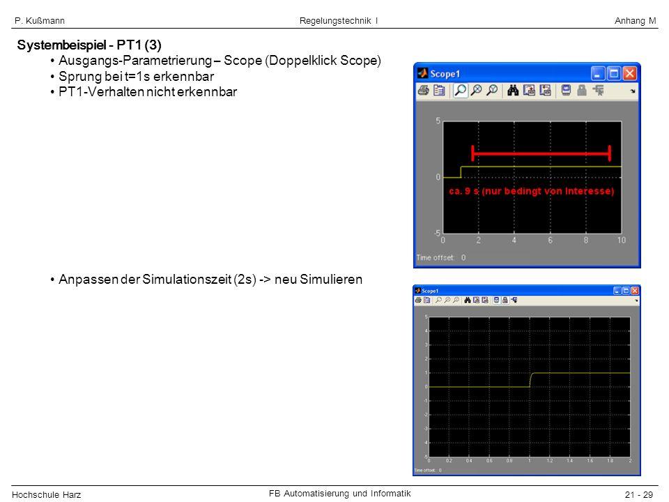 Hochschule Harz FB Automatisierung und Informatik 21 - 29 Regelungstechnik IAnhang MP. Kußmann Systembeispiel - PT1 (3) Ausgangs-Parametrierung – Scop