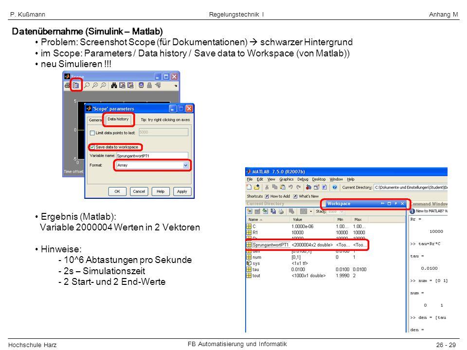 Hochschule Harz FB Automatisierung und Informatik 26 - 29 Regelungstechnik IAnhang MP. Kußmann Datenübernahme (Simulink – Matlab) Problem: Screenshot