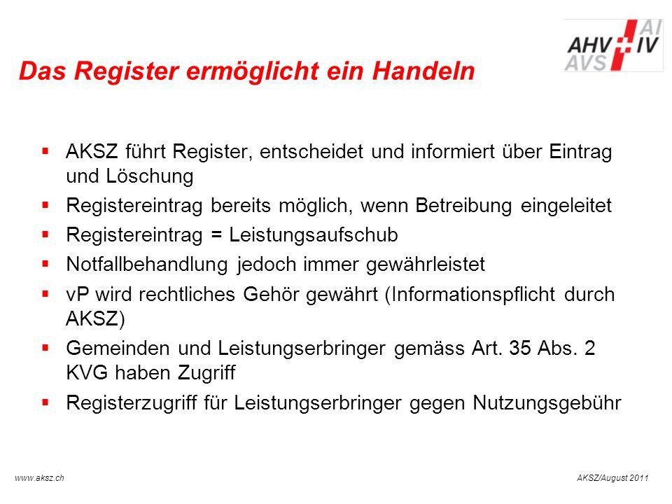 AKSZ/August 2011www.aksz.ch AUSGLEICHSKASSE IV-STELLE SCHWYZ Das Register ermöglicht ein Handeln AKSZ führt Register, entscheidet und informiert über
