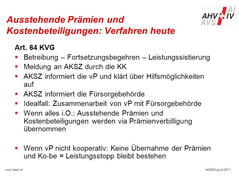 AKSZ/August 2011www.aksz.ch AUSGLEICHSKASSE IV-STELLE SCHWYZ Ausstehende Prämien und Kostenbeteiligungen: Verfahren heute Art. 64 KVG Betreibung – For