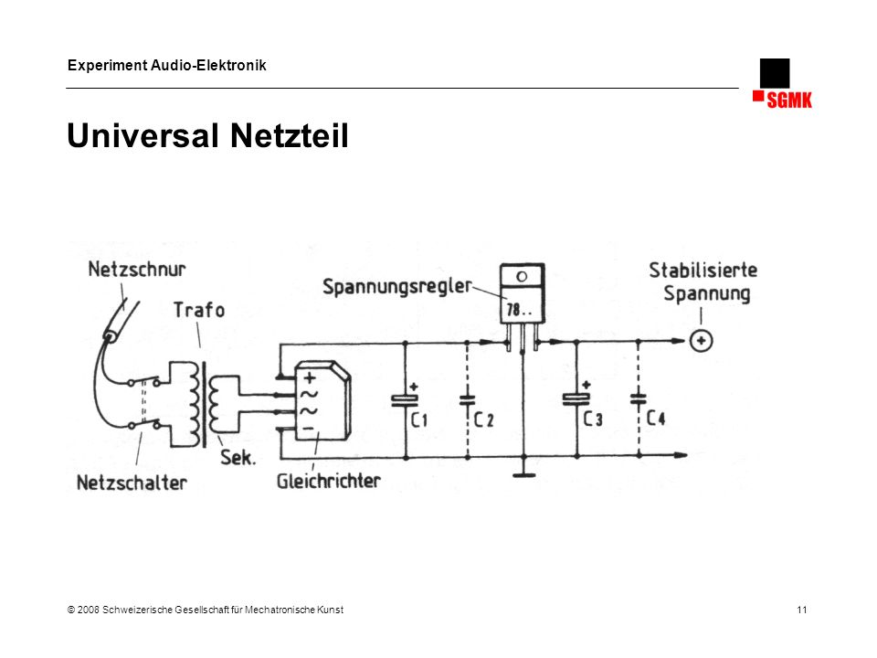 Experiment Audio-Elektronik © 2008 Schweizerische Gesellschaft für Mechatronische Kunst 11 Universal Netzteil