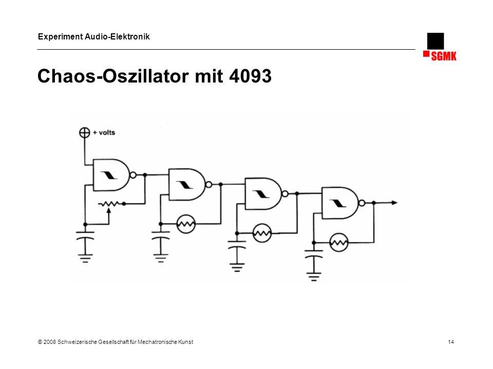 Experiment Audio-Elektronik © 2008 Schweizerische Gesellschaft für Mechatronische Kunst 14 Chaos-Oszillator mit 4093