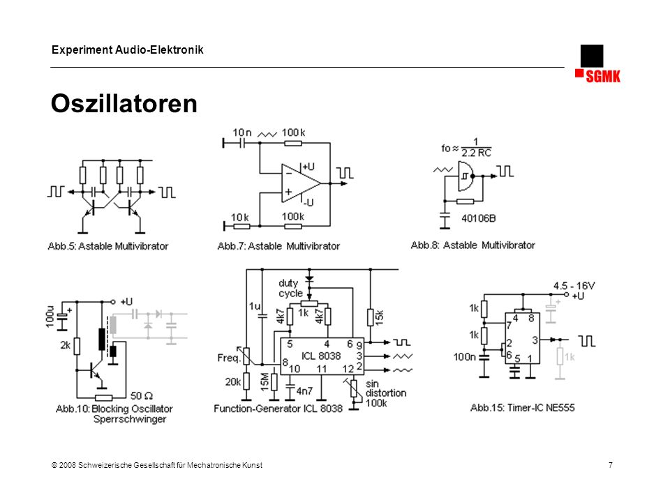 Experiment Audio-Elektronik © 2008 Schweizerische Gesellschaft für Mechatronische Kunst 8 Einfache Oszillatoren mit digitale ICs Output Control CV 4093 40106 9V