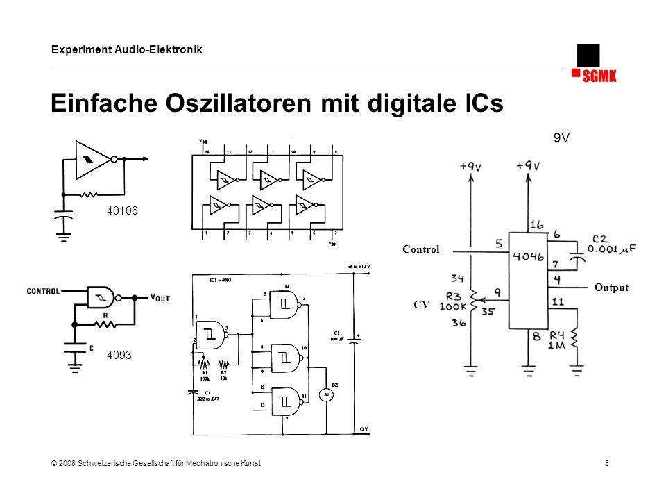 Experiment Audio-Elektronik © 2008 Schweizerische Gesellschaft für Mechatronische Kunst 8 Einfache Oszillatoren mit digitale ICs Output Control CV 409