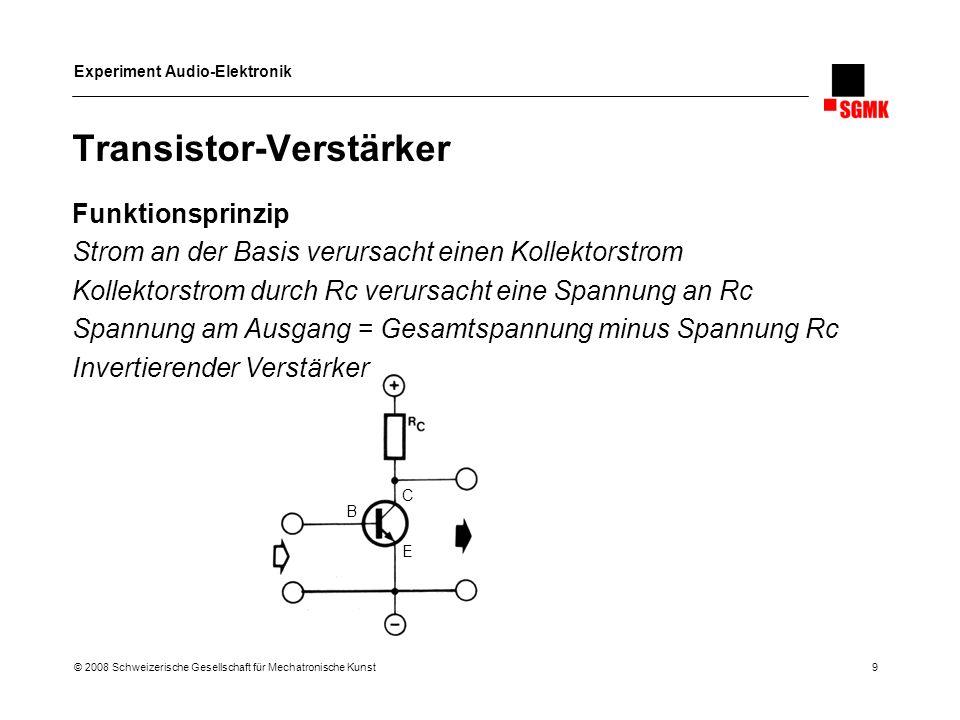 Experiment Audio-Elektronik © 2008 Schweizerische Gesellschaft für Mechatronische Kunst 10 Transistor-Verstärker Schaltung + = V ~ R 3 /R 4