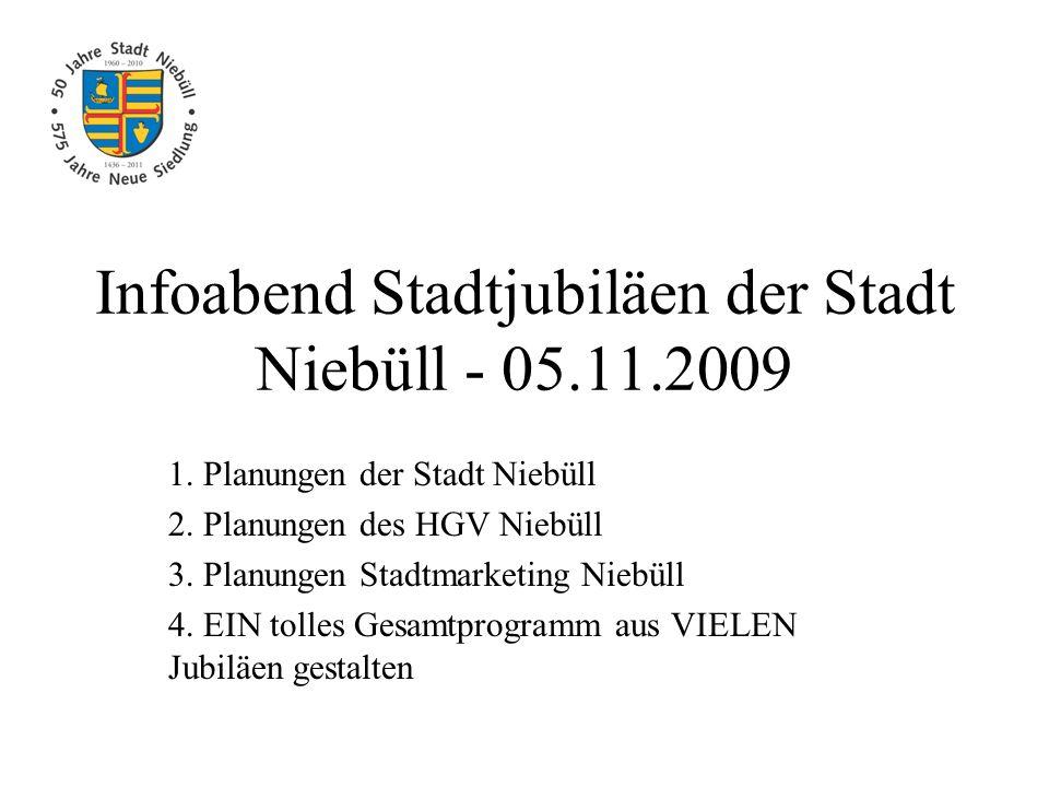 Infoabend Stadtjubiläen der Stadt Niebüll - 05.11.2009 1. Planungen der Stadt Niebüll 2. Planungen des HGV Niebüll 3. Planungen Stadtmarketing Niebüll