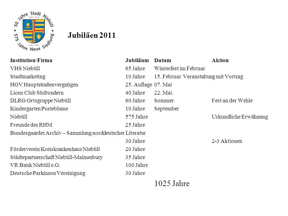 Jubiläen 2011 Institution/FirmaJubiläumDatumAktion VHS Niebüll65 JahreWinterfest im Februar Stadtmarketing 10 Jahre15. FebruarVeranstaltung mit Vortra
