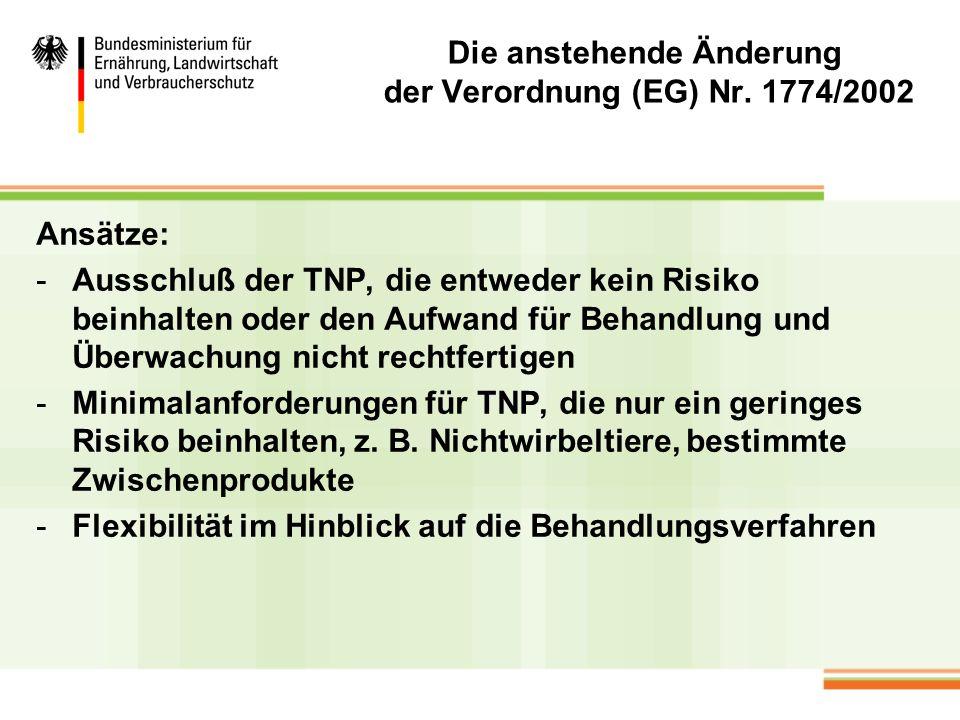 Die anstehende Änderung der Verordnung (EG) Nr. 1774/2002 Ansätze: -Ausschluß der TNP, die entweder kein Risiko beinhalten oder den Aufwand für Behand