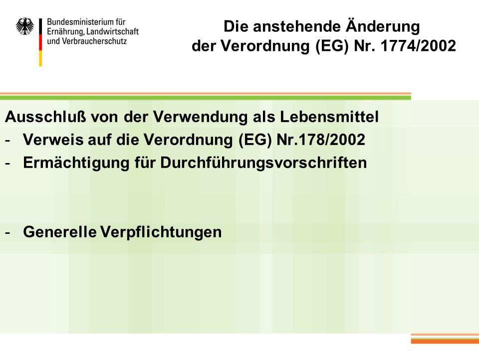 Die anstehende Änderung der Verordnung (EG) Nr. 1774/2002 Ausschluß von der Verwendung als Lebensmittel -Verweis auf die Verordnung (EG) Nr.178/2002 -