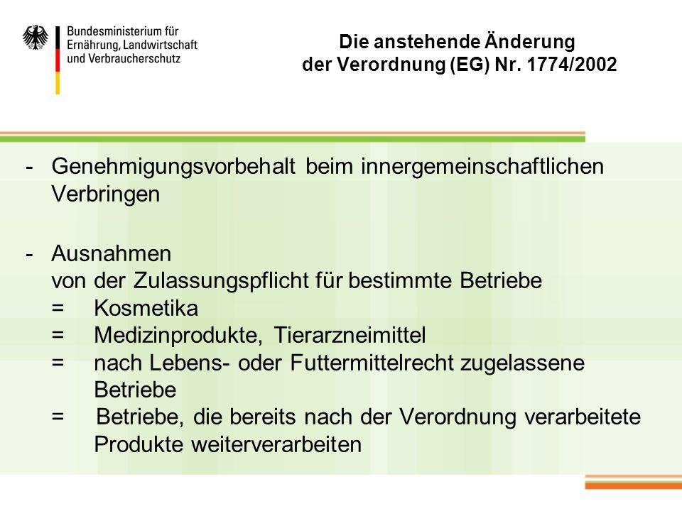 Die anstehende Änderung der Verordnung (EG) Nr. 1774/2002 -Genehmigungsvorbehalt beim innergemeinschaftlichen Verbringen -Ausnahmen von der Zulassungs