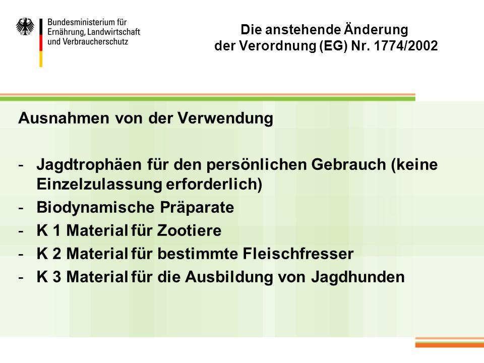 Die anstehende Änderung der Verordnung (EG) Nr. 1774/2002 Ausnahmen von der Verwendung -Jagdtrophäen für den persönlichen Gebrauch (keine Einzelzulass