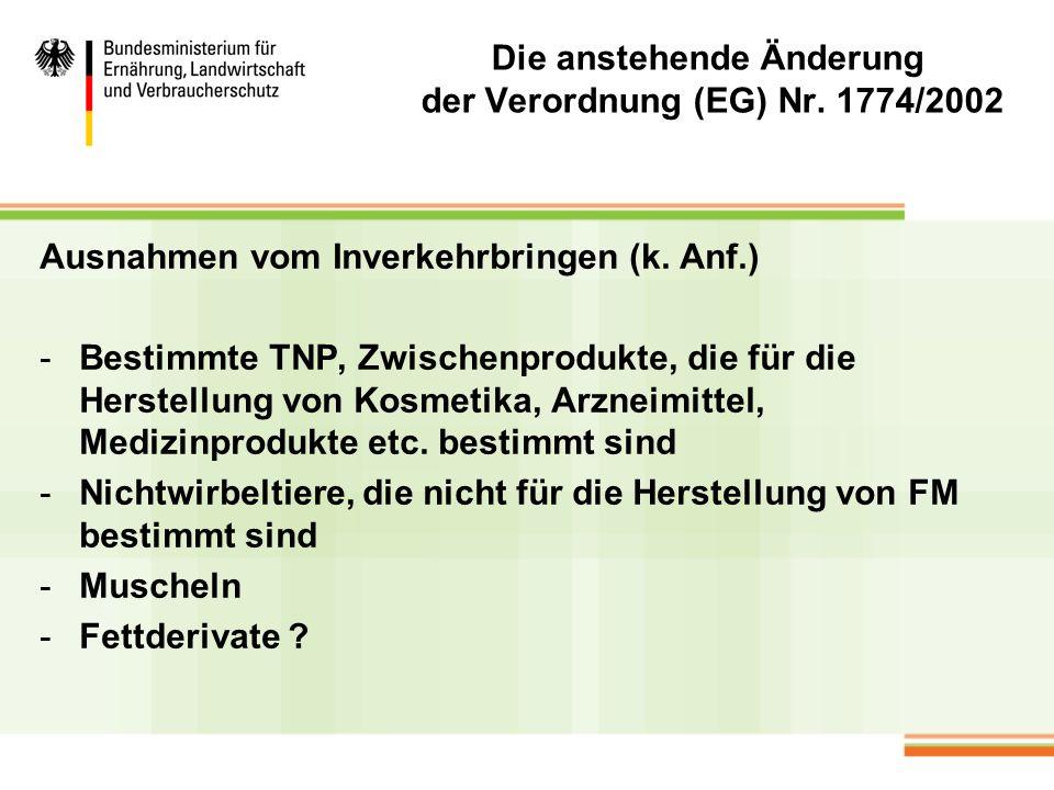 Die anstehende Änderung der Verordnung (EG) Nr. 1774/2002 Ausnahmen vom Inverkehrbringen (k. Anf.) -Bestimmte TNP, Zwischenprodukte, die für die Herst