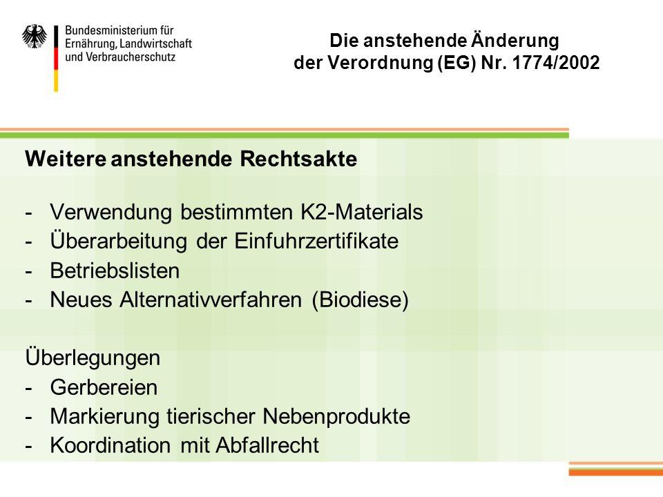 Die anstehende Änderung der Verordnung (EG) Nr. 1774/2002 Weitere anstehende Rechtsakte -Verwendung bestimmten K2-Materials -Überarbeitung der Einfuhr