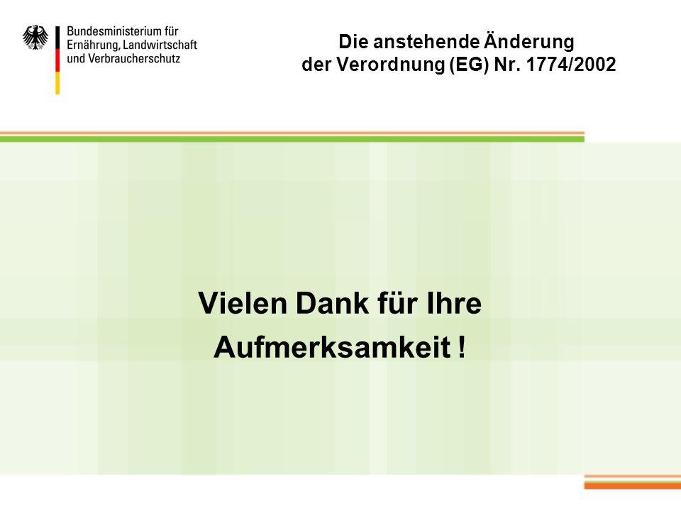 Die anstehende Änderung der Verordnung (EG) Nr. 1774/2002 Vielen Dank für Ihre Aufmerksamkeit !