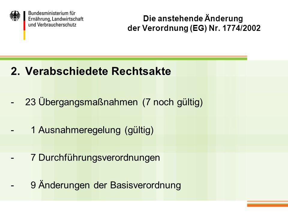 Die anstehende Änderung der Verordnung (EG) Nr. 1774/2002 2.Verabschiedete Rechtsakte -23 Übergangsmaßnahmen (7 noch gültig) - 1 Ausnahmeregelung (gül