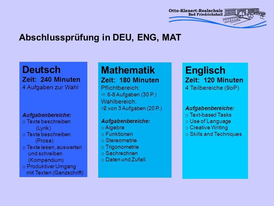 Deutsch Zeit: 240 Minuten 4 Aufgaben zur Wahl Aufgabenbereiche: o Texte beschreiben (Lyrik) o Texte beschreiben (Prosa) o Texte lesen, auswerten und s