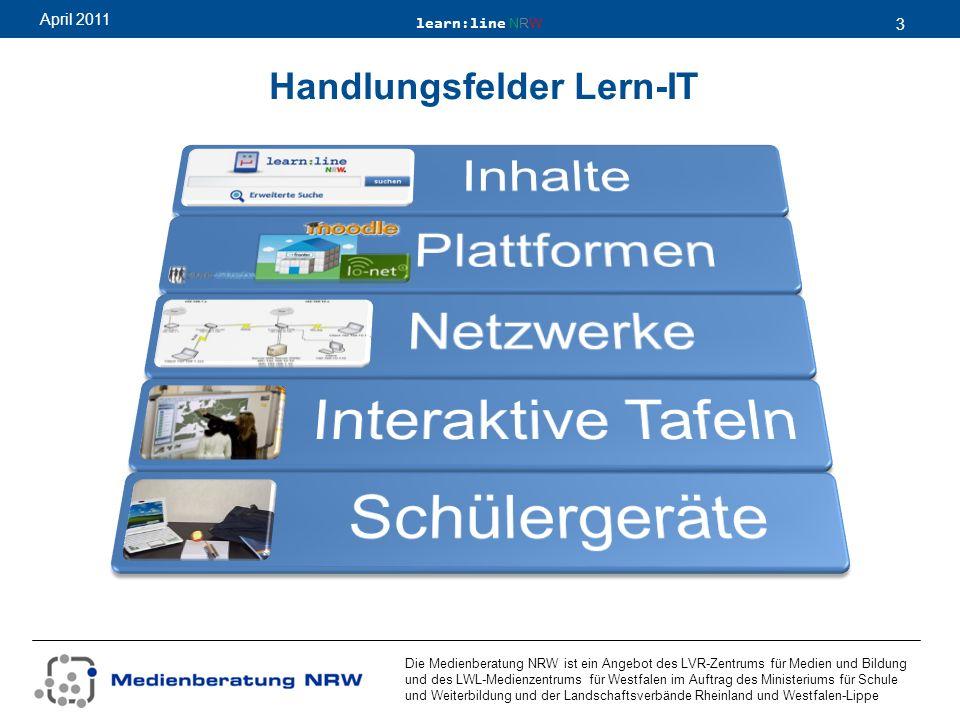 learn:line NRW 3 April 2011 Die Medienberatung NRW ist ein Angebot des LVR-Zentrums für Medien und Bildung und des LWL-Medienzentrums für Westfalen im Auftrag des Ministeriums für Schule und Weiterbildung und der Landschaftsverbände Rheinland und Westfalen-Lippe Handlungsfelder Lern-IT