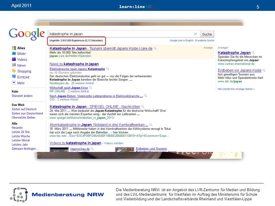 learn:line NRW 5 April 2011 Die Medienberatung NRW ist ein Angebot des LVR-Zentrums für Medien und Bildung und des LWL-Medienzentrums für Westfalen im Auftrag des Ministeriums für Schule und Weiterbildung und der Landschaftsverbände Rheinland und Westfalen-Lippe