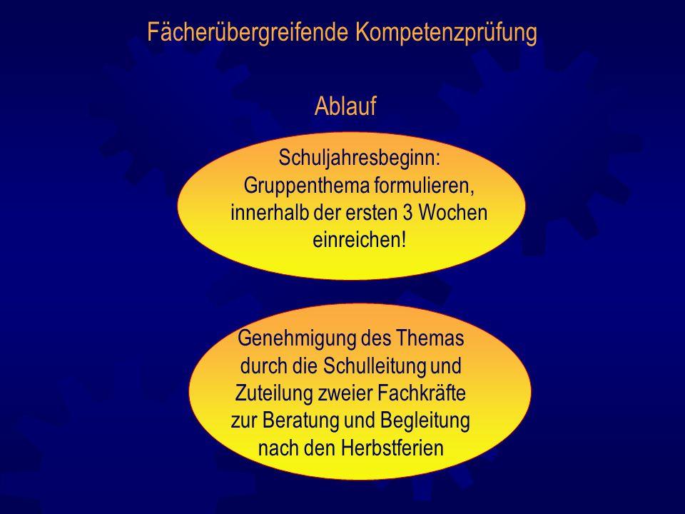Fächerübergreifende Kompetenzprüfung Ablauf Schuljahresbeginn: Gruppenthema formulieren, innerhalb der ersten 3 Wochen einreichen! Genehmigung des The