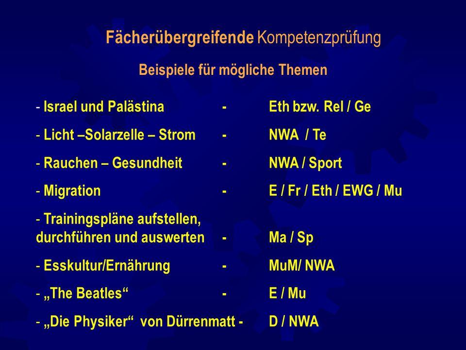 Fächerübergreifende Kompetenzprüfung Beispiele für mögliche Themen - Israel und Palästina - Eth bzw. Rel / Ge - Licht –Solarzelle – Strom - NWA / Te -