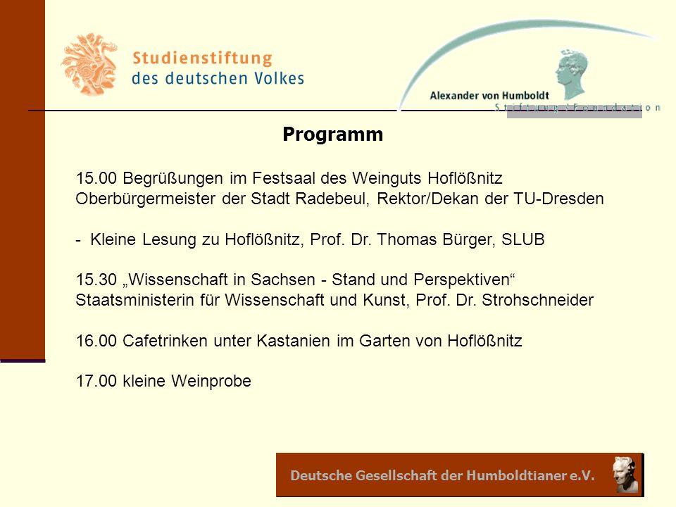 Deutsche Gesellschaft der Humboldtianer e.V. Programm 15.00 Begrüßungen im Festsaal des Weinguts Hoflößnitz Oberbürgermeister der Stadt Radebeul, Rekt